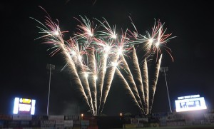 Fireworks over Pelican stadium