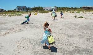 Family Leaving Beach