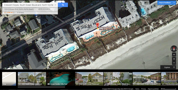 Earth view in Google Maps allows you to see an aerial view of the condo, the pool, and its proximity to the beach and other attractions in the area.
