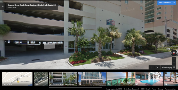 "Switch to ""Street View"" to see the condo from the ground."