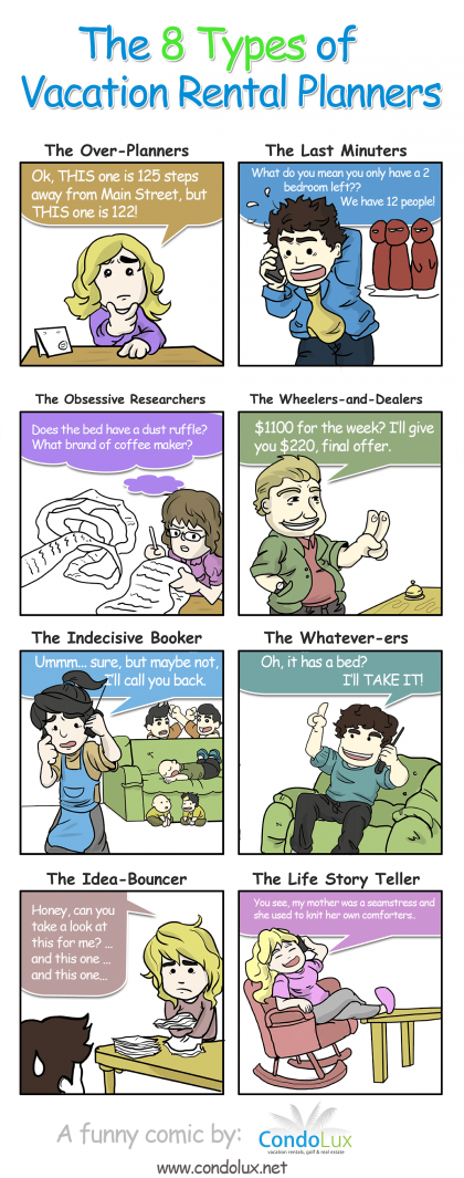 The 8 Types of Vacation Rental Planners [FUNNY COMIC STRIP]