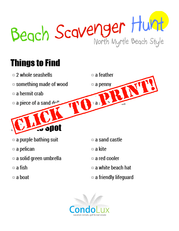Family Activity Time Beach Scavenger Hunt Printable Pdf