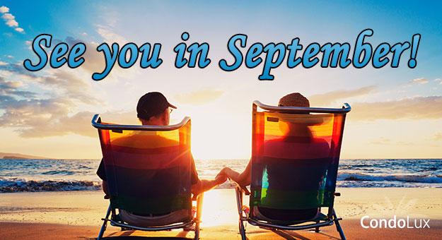 Couple on beach in September